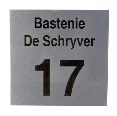 Nummergravure op inoxplaatje gebrand