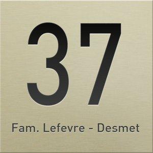 Huisnummer champagne mat 2